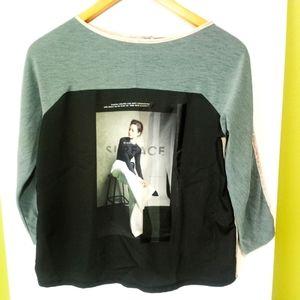 Zara Women's Color-block Graphic Print Top Sleeves